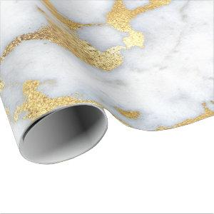White Gray Marble Golden Shiny Brushes Bright Wrapping Paper
