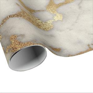 White Gray Marble Golden Shiny Brushes Ivory Wrapping Paper