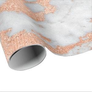 White Gray Marble Rose Gold Gold Shiny Copper Lux Wrapping Paper