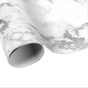 White Gray Marble Silver Carrara Stone Abstarct Wrapping Paper
