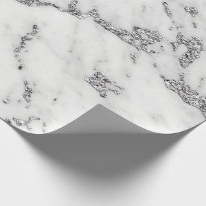 White Gray Silver Glitter Metallic Carrara Marble Wrapping Paper