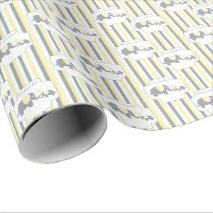 White, Gray & Yellow Stripe Elephants Baby Shower Wrapping Paper