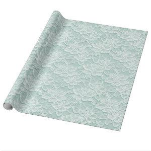 White & Green Lace Texture Wrapping Paper