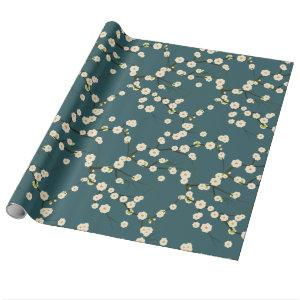White Japanese Cherry Blossoms on Forest Green Wrapping Paper