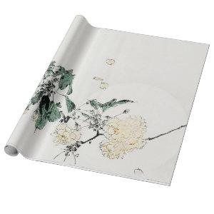 WHITE JAPANESE FLOWER PRINT Wrapping Paper