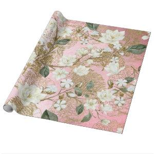 White Magnolia Rose Gold Ferns Chic Floral Wrapping Paper