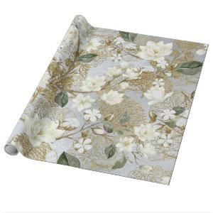 White Magnolia Silver Gold Ferns Chic Floral Wrapping Paper