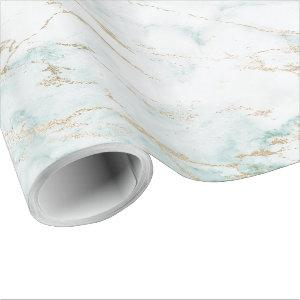 White Mint Green Tiffany Gold Glam Marble Wrapping Paper