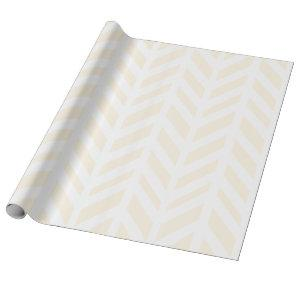 White Modern Herringbone & Tan Wrapping Paper