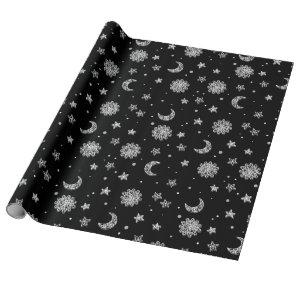 White Moon & Stars Wrapping Paper