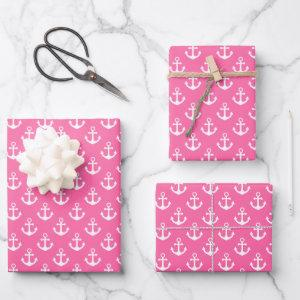 White Nautical Anchors on Bright Pink Wrapping Paper Sheets