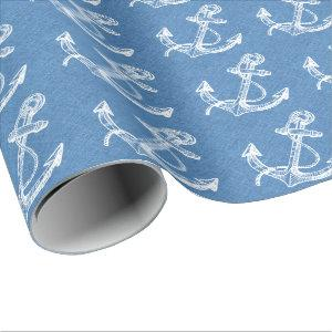 White Nautical Boat Anchor Blue Linen Wrapping Paper