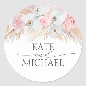 White Orchids and Pampas Grass Pink Wedding Classic Round Sticker