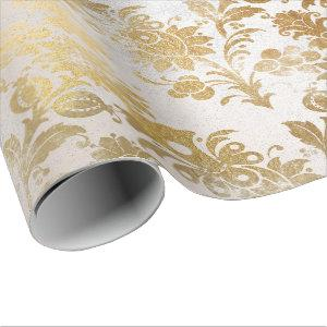 White Pearly Gold Floral Cottage Grungy Damask Wrapping Paper