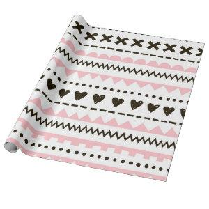 White Pink Black Hearts Pattern Wrapping Paper