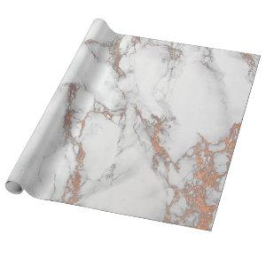 White Pink Gray Marble Shiny  Brushes Stone Copper Wrapping Paper