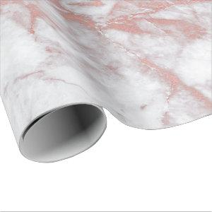 White Pink Gray Marble Shiny  Brushes Stone White Wrapping Paper