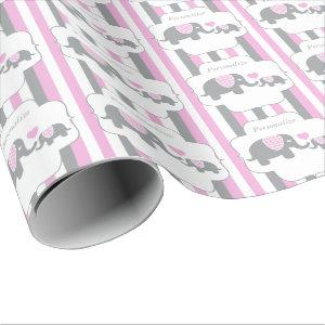 White, Pink & Gray Stripe Elephants Baby Shower Wrapping Paper