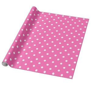White Polka Dot on Pink Large Space Wrapping Paper