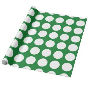 White Polka Dots Green Wrapping Paper