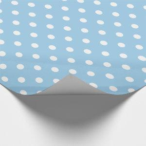 White Polka Dots on Cottage Blue Wrapping Paper