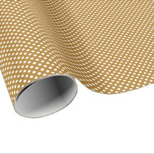 White Polka Dots on Matte Gold Wrapping Paper