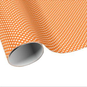 White Polka Dots on Orange Wrapping Paper