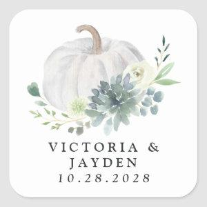 White Pumpkin Elegant Succulent Fall Chic Wedding Square Sticker