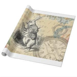 White Rabbit from Alice in Wonderland Wrapping Paper