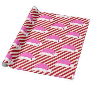 White Red Striped Christmas Pink Santa Hat Wrapping Paper