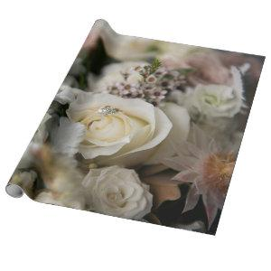 White roses and wedding rings wrapping paper