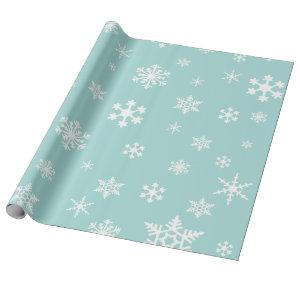 White Snowflakes on Robin's Egg Blue, Holiday Wrapping Paper