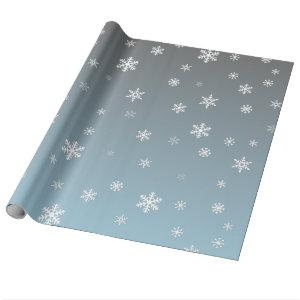 White Snowflakes on Silver Blue Wrapping Paper