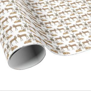 Whitetail Deer Family Wrapping Paper