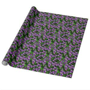 WI State Flower Wood Violet Mosaic Pattern Wrapping Paper