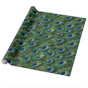wild green peacock feathers wrapping paper