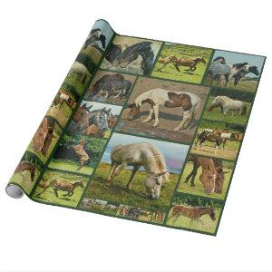 Wild Horses Collage Wrapping Paper