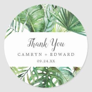 Wild Tropical Palm Thank You Wedding Favor Sticker