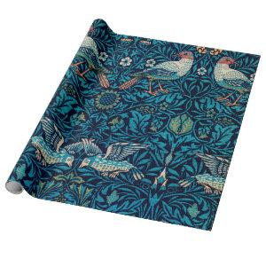 William Morris Birds Art Nouveau Floral Pattern Wrapping Paper