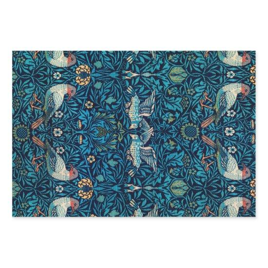 William Morris Birds Art Nouveau Floral Pattern Wrapping Paper Sheets