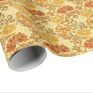 William Morris Chrysanthemums, Mustard Gold Wrapping Paper