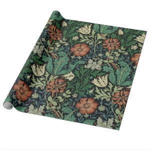 William Morris Compton Floral Art Nouveau Pattern Wrapping Paper