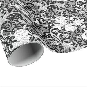 William Morris Iris and Lily, Black and White Wrapping Paper