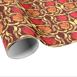 William Morris Pimpernel, Rust Orange and Brown Wrapping Paper