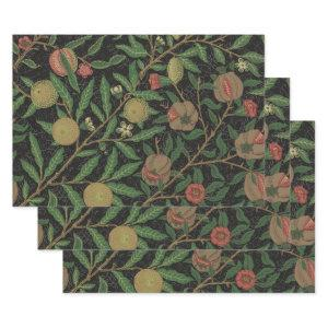 William Morris Pomegranate Black Floral Design Wrapping Paper Sheets