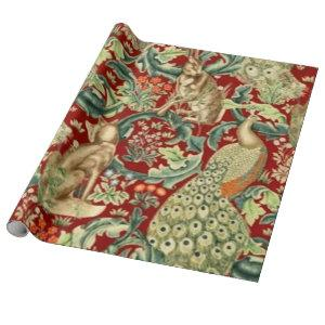 William Morris Red Pattern Forest Wrapping Paper