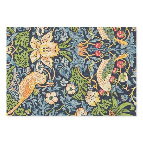 William Morris Strawberry Thief Floral Pattern Wrapping Paper Sheets