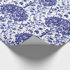 William Morris Tree of Life, Cobalt Blue and White Wrapping Paper