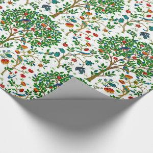 William Morris Tree of Life Pattern, Green & Multi Wrapping Paper