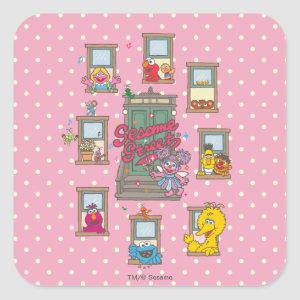 Window Vintage Art Square Sticker